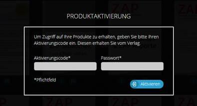 Screenshot: ZAP App Produktaktivierung