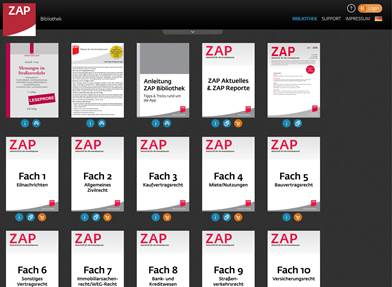 Screenshot: ZAP App Inhalte